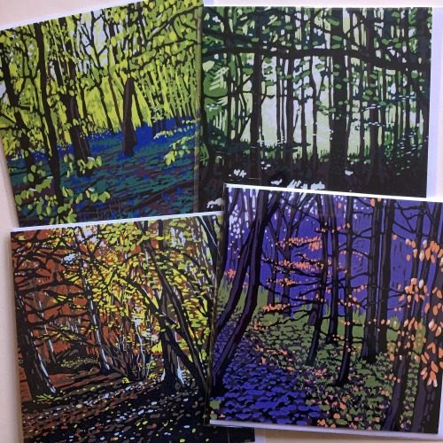Greetings Cards, set of four woodland images by Alexandra Buckle